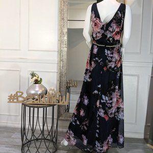 SLNY Dresses - Floral Pink Purple Formal Evening Dress Gown